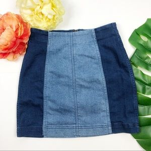 Free People two tone denim mini skirt 0